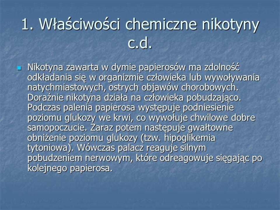 1. Właściwości chemiczne nikotyny c.d. Nikotyna zawarta w dymie papierosów ma zdolność odkładania się w organizmie człowieka lub wywoływania natychmia