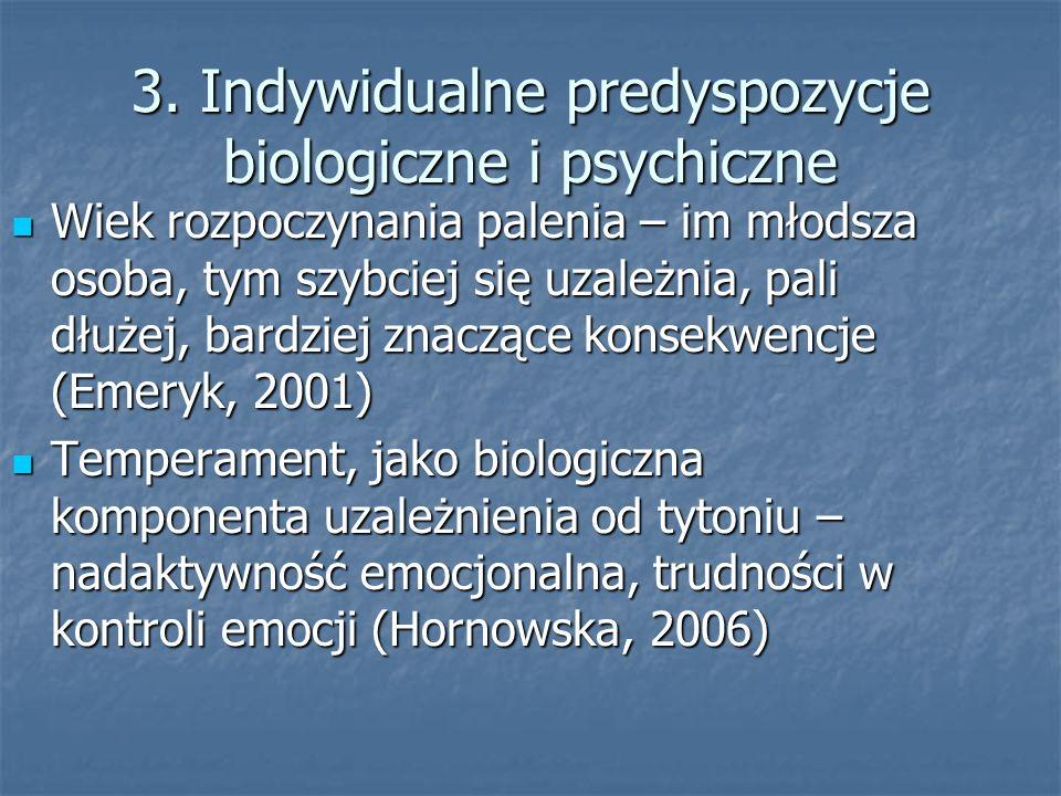 3. Indywidualne predyspozycje biologiczne i psychiczne Wiek rozpoczynania palenia – im młodsza osoba, tym szybciej się uzależnia, pali dłużej, bardzie