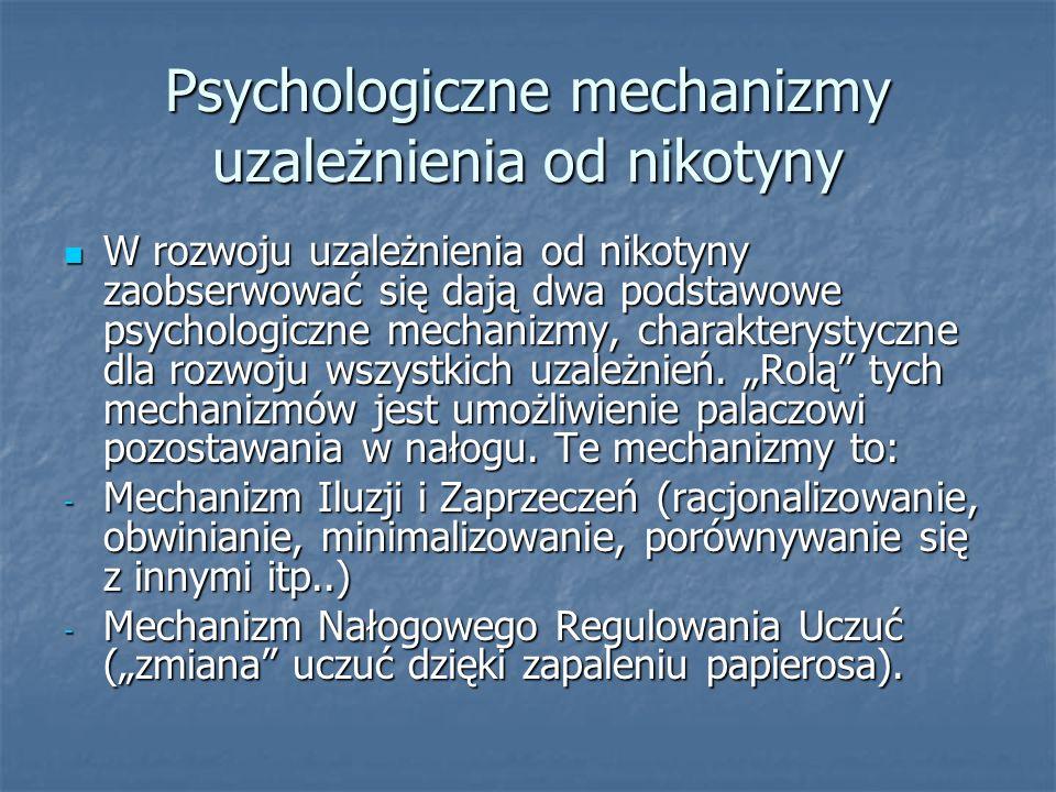 Psychologiczne mechanizmy uzależnienia od nikotyny W rozwoju uzależnienia od nikotyny zaobserwować się dają dwa podstawowe psychologiczne mechanizmy,