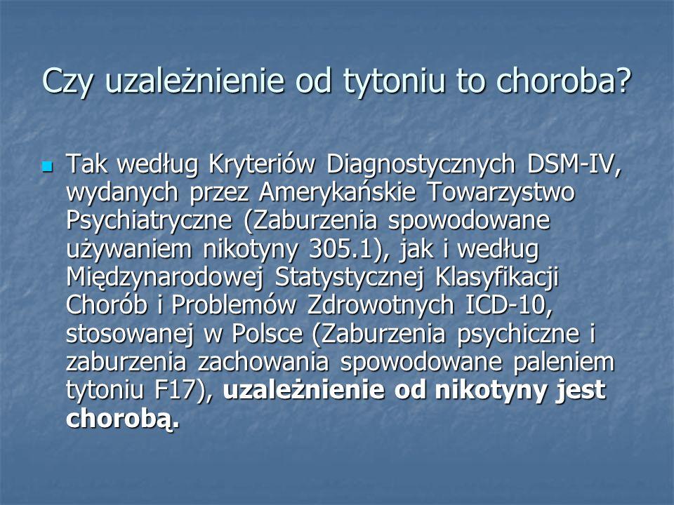 Czy uzależnienie od tytoniu to choroba? Tak według Kryteriów Diagnostycznych DSM-IV, wydanych przez Amerykańskie Towarzystwo Psychiatryczne (Zaburzeni