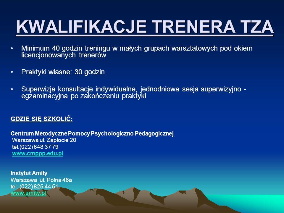 KWALIFIKACJE TRENERA TZA Minimum 40 godzin treningu w małych grupach warsztatowych pod okiem licencjonowanych trenerów Praktyki własne: 30 godzin Supe