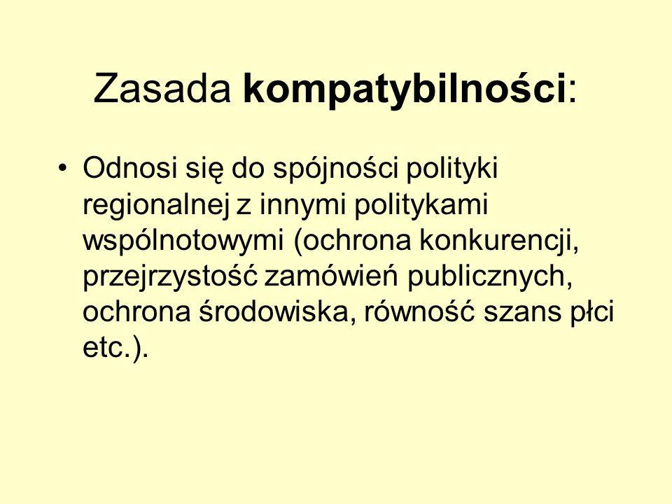 Zasada kompatybilności: Odnosi się do spójności polityki regionalnej z innymi politykami wspólnotowymi (ochrona konkurencji, przejrzystość zamówień pu