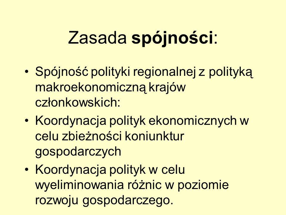 Zasada spójności: Spójność polityki regionalnej z polityką makroekonomiczną krajów członkowskich: Koordynacja polityk ekonomicznych w celu zbieżności