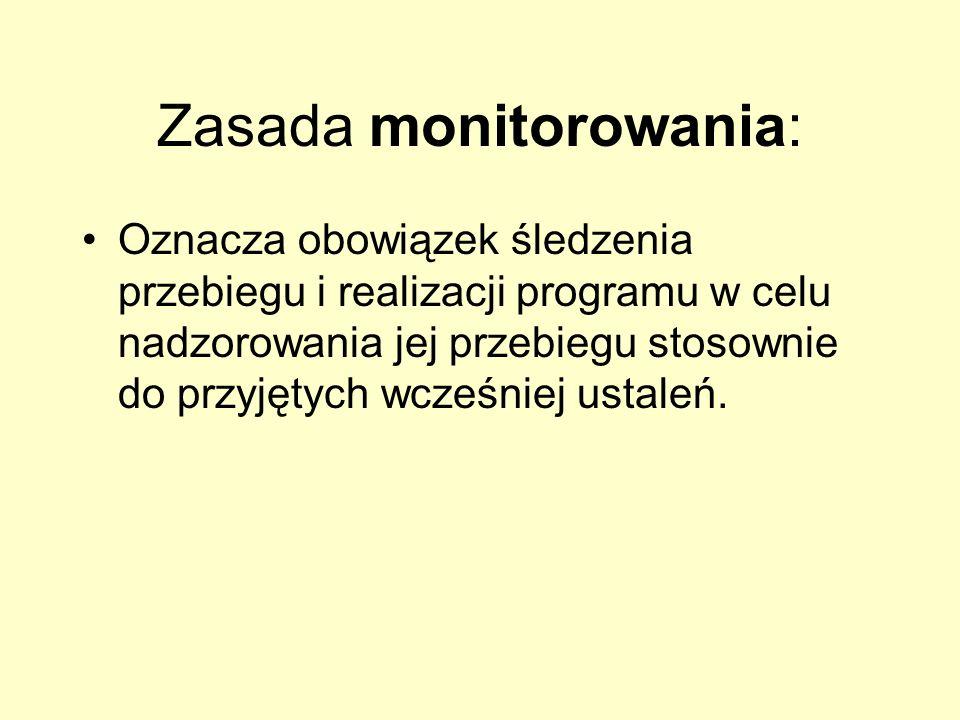Zasada monitorowania: Oznacza obowiązek śledzenia przebiegu i realizacji programu w celu nadzorowania jej przebiegu stosownie do przyjętych wcześniej
