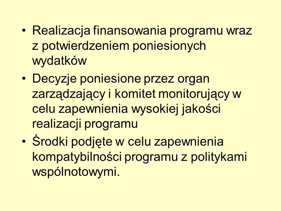 Realizacja finansowania programu wraz z potwierdzeniem poniesionych wydatków Decyzje poniesione przez organ zarządzający i komitet monitorujący w celu