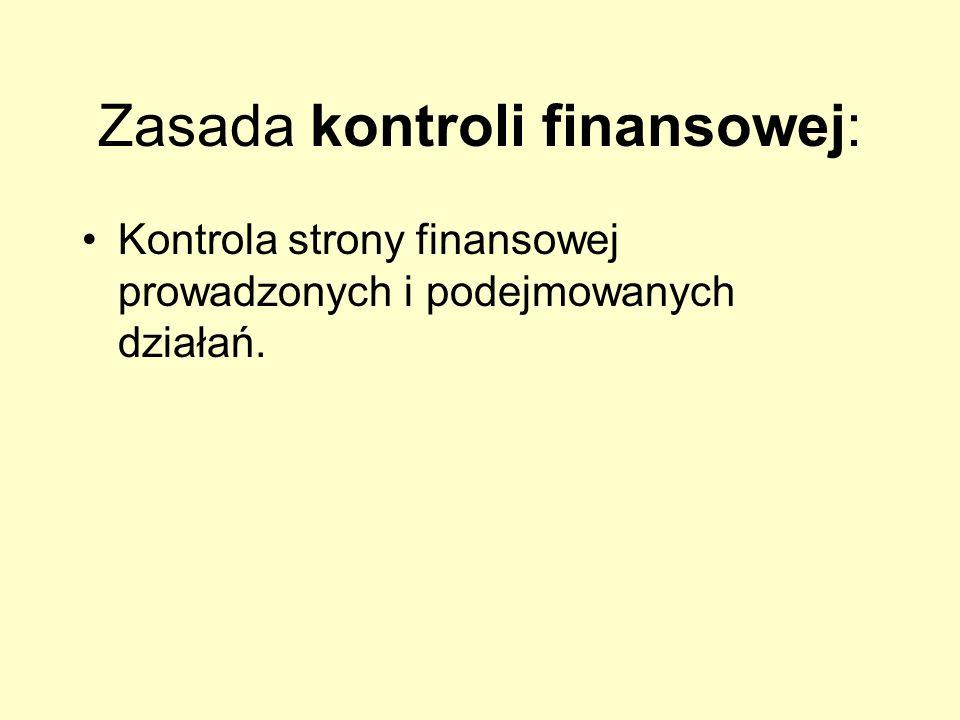 Zasada kontroli finansowej: Kontrola strony finansowej prowadzonych i podejmowanych działań.