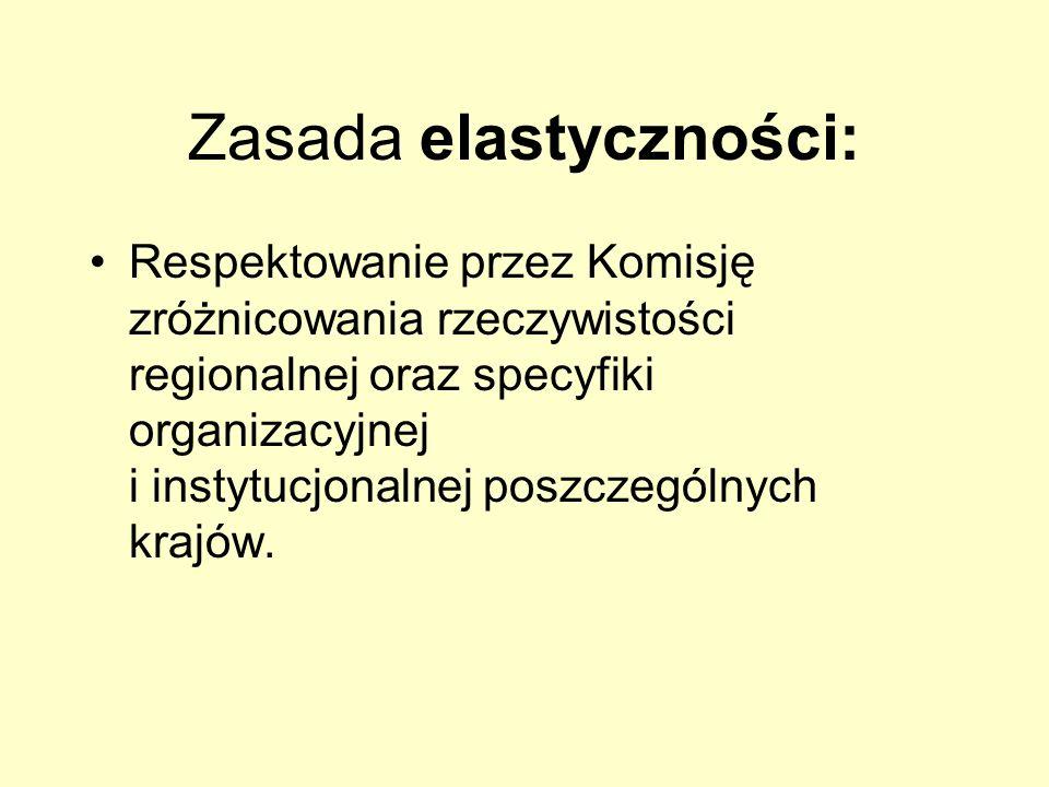 Zasada elastyczności: Respektowanie przez Komisję zróżnicowania rzeczywistości regionalnej oraz specyfiki organizacyjnej i instytucjonalnej poszczegól