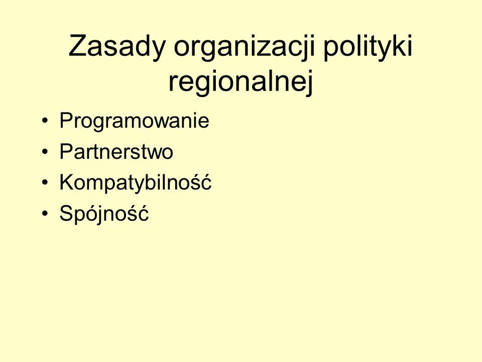 Zasady organizacji polityki regionalnej Programowanie Partnerstwo Kompatybilność Spójność