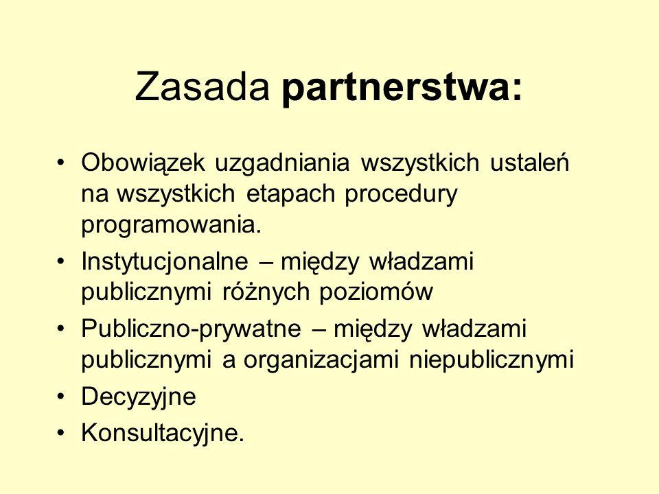 Zasada partnerstwa: Obowiązek uzgadniania wszystkich ustaleń na wszystkich etapach procedury programowania. Instytucjonalne – między władzami publiczn