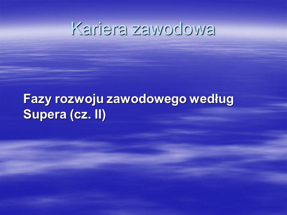 Kariera zawodowa Fazy rozwoju zawodowego według Supera (cz. II)