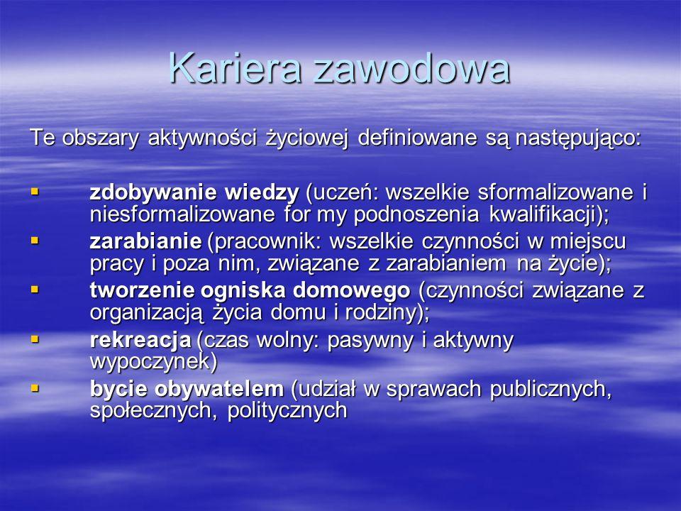 Kariera zawodowa Te obszary aktywności życiowej definiowane są następująco: zdobywanie wiedzy (uczeń: wszelkie sformalizowane i niesformalizowane for