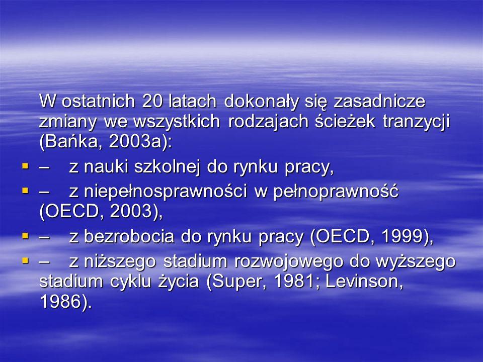 W ostatnich 20 latach dokonały się zasadnicze zmiany we wszystkich rodzajach ścieżek tranzycji (Bańka, 2003a): –z nauki szkolnej do rynku pracy, –z na