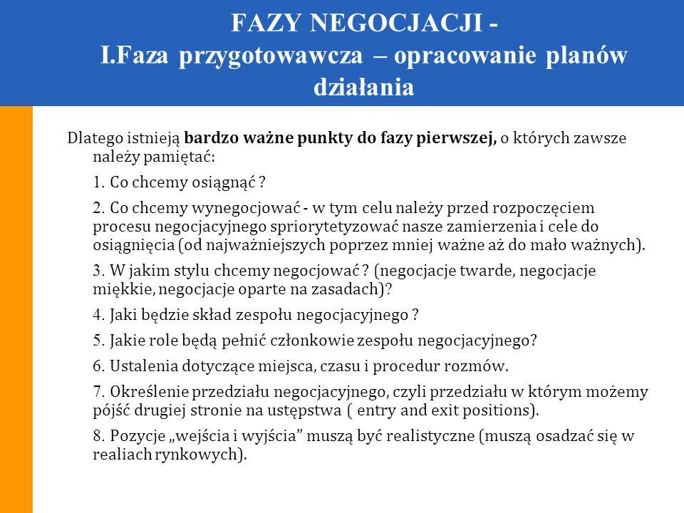 FAZY NEGOCJACJI - I.Faza przygotowawcza – opracowanie planów działania !!.