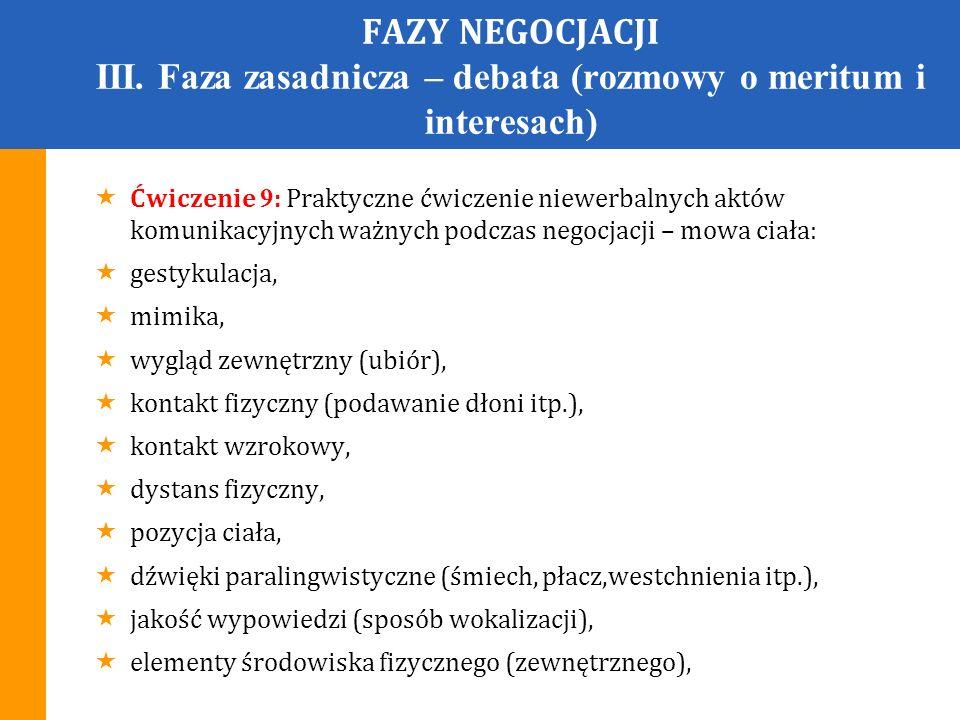FAZY NEGOCJACJI IV.