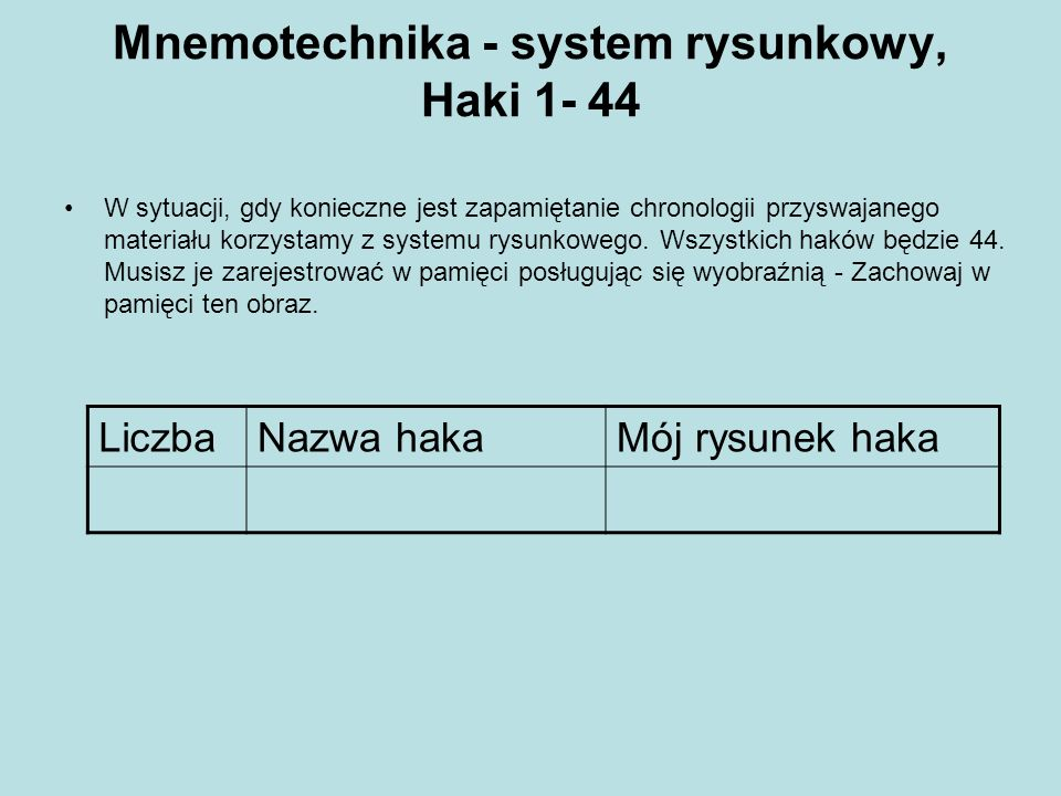 Mnemotechnika - system rysunkowy, Haki 1- 44 W sytuacji, gdy konieczne jest zapamiętanie chronologii przyswajanego materiału korzystamy z systemu rysu