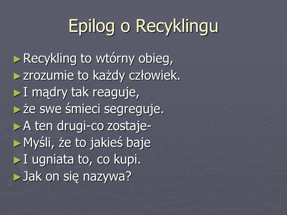 Recykling Recykling to ekonomiczne wykorzystanie urzytych już opakowan itp. Recykling to ekonomiczne wykorzystanie urzytych już opakowan itp.