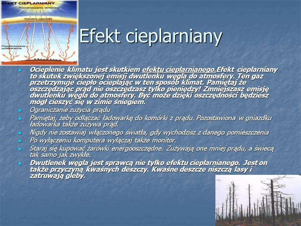 Efekt cieplarniany Efekt cieplarniany – zjawisko wywoływane przez atmosferę, w wyniku którego temperatura planety jest wyższa niż gdyby planeta nie po