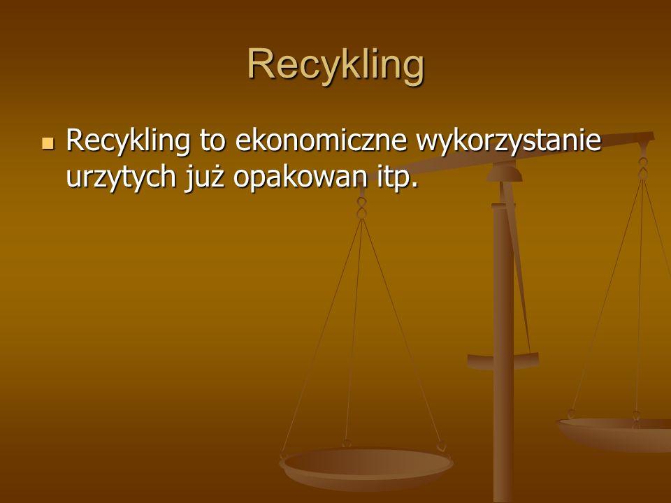 Recykling Recykling odbywa się w dwóch obszarach: produkowania dóbr oraz późniejszego powstawania z nich odpadów. Założenia recyklingu zakładają wymus