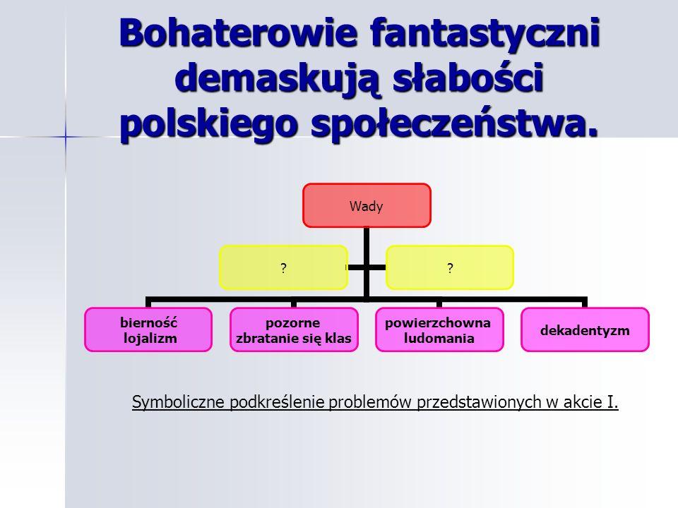 Bohaterowie fantastyczni demaskują słabości polskiego społeczeństwa. Symboliczne podkreślenie problemów przedstawionych w akcie I.
