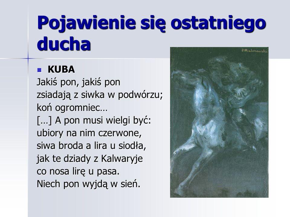 Pojawienie się ostatniego ducha KUBA KUBA Jakiś pon, jakiś pon zsiadają z siwka w podwórzu; koń ogromniec… […] A pon musi wielgi być: ubiory na nim cz