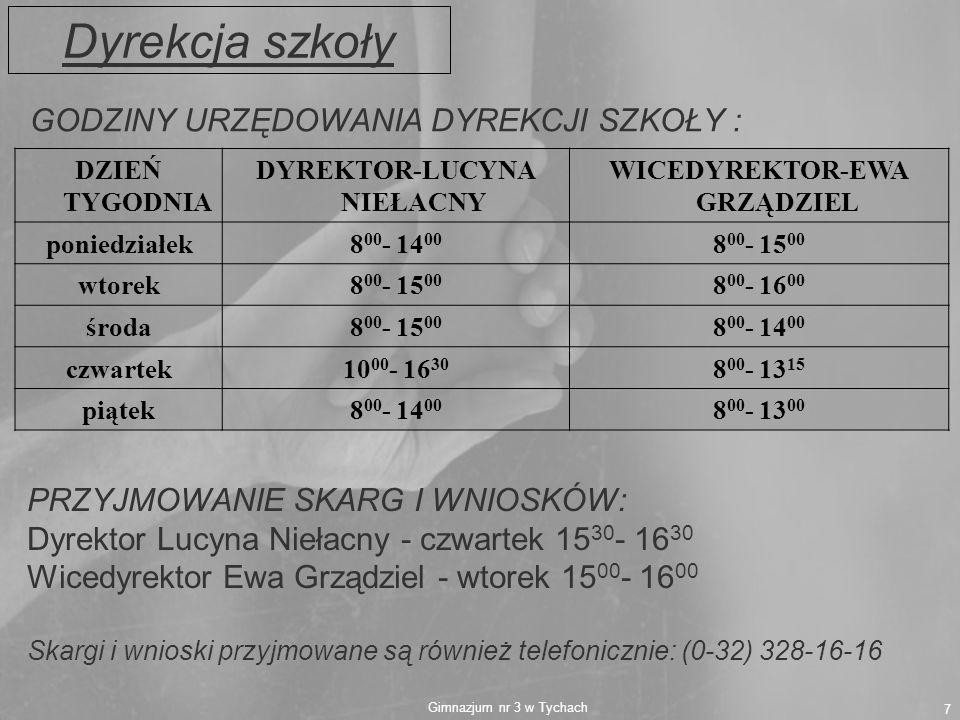 Gimnazjum nr 3 w Tychach 7 DZIEŃ TYGODNIA DYREKTOR-LUCYNA NIEŁACNY WICEDYREKTOR-EWA GRZĄDZIEL poniedziałek8 00 - 14 00 8 00 - 15 00 wtorek8 00 - 15 00
