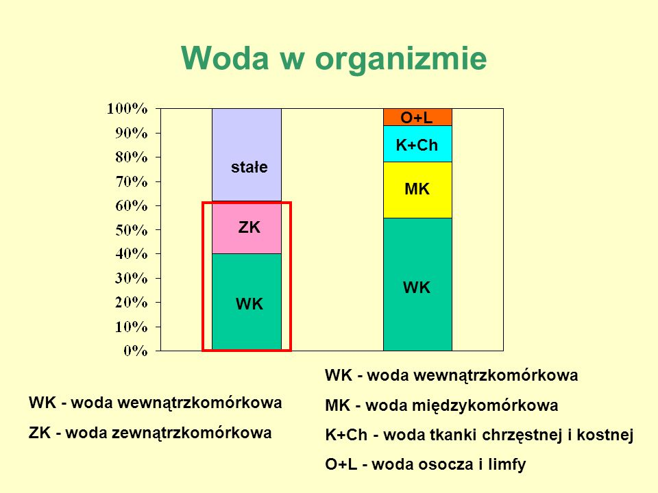 Woda w organizmie WK - woda wewnątrzkomórkowa ZK - woda zewnątrzkomórkowa stałe WK ZK WK MK K+Ch O+L WK - woda wewnątrzkomórkowa MK - woda międzykomór
