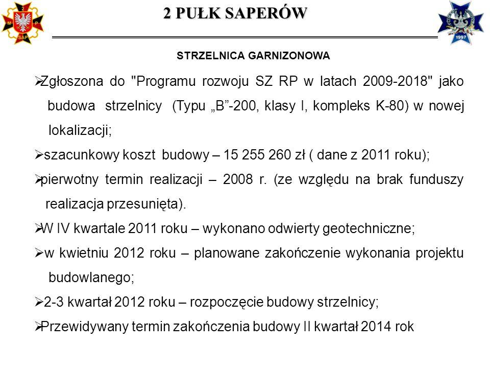 STRZELNICA GARNIZONOWA Zgłoszona do Programu rozwoju SZ RP w latach 2009-2018 jako, budowa strzelnicy (Typu B-200, klasy I, kompleks K-80) w nowej.