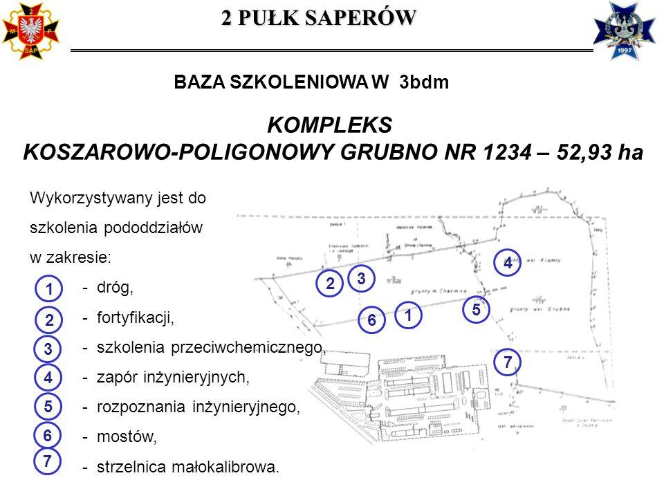 KOMPLEKS KOSZAROWO-POLIGONOWY GRUBNO NR 1234 – 52,93 ha Wykorzystywany jest do szkolenia pododdziałów w zakresie: - dróg, - fortyfikacji, - szkolenia przeciwchemicznego, - zapór inżynieryjnych, - rozpoznania inżynieryjnego, - mostów, - strzelnica małokalibrowa.