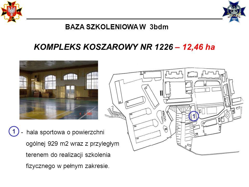 11 KOMPLEKS KOSZAROWY NR 1226 – 12,46 ha - hala sportowa o powierzchni ogólnej 929 m2 wraz z przyległym terenem do realizacji szkolenia fizycznego w pełnym zakresie.