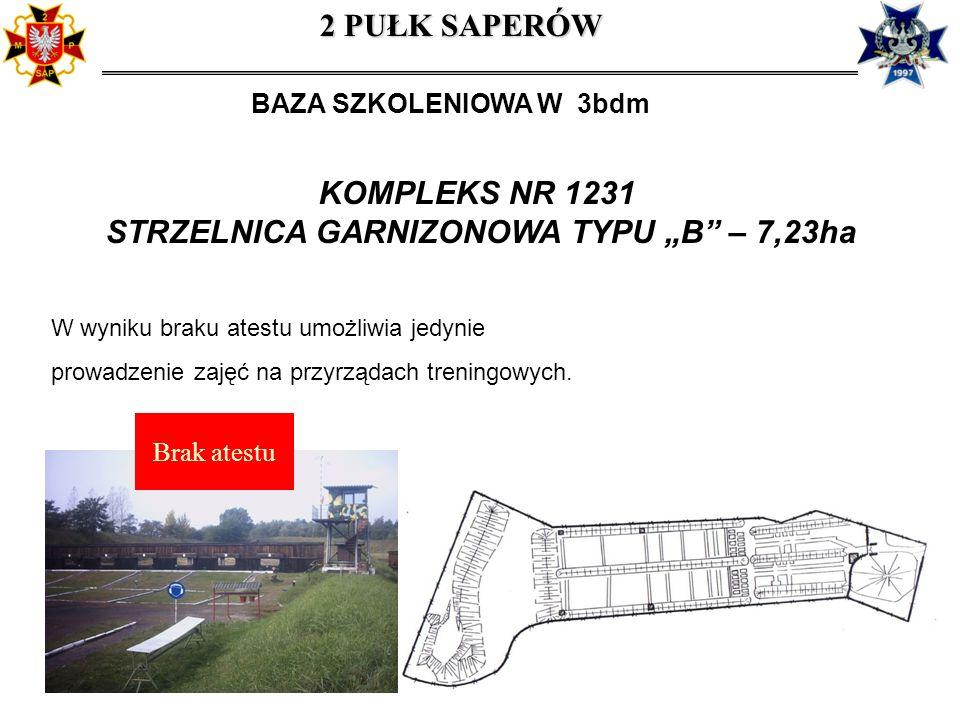 KOMPLEKS NR 1231 STRZELNICA GARNIZONOWA TYPU B – 7,23ha W wyniku braku atestu umożliwia jedynie prowadzenie zajęć na przyrządach treningowych. 2 PUŁK