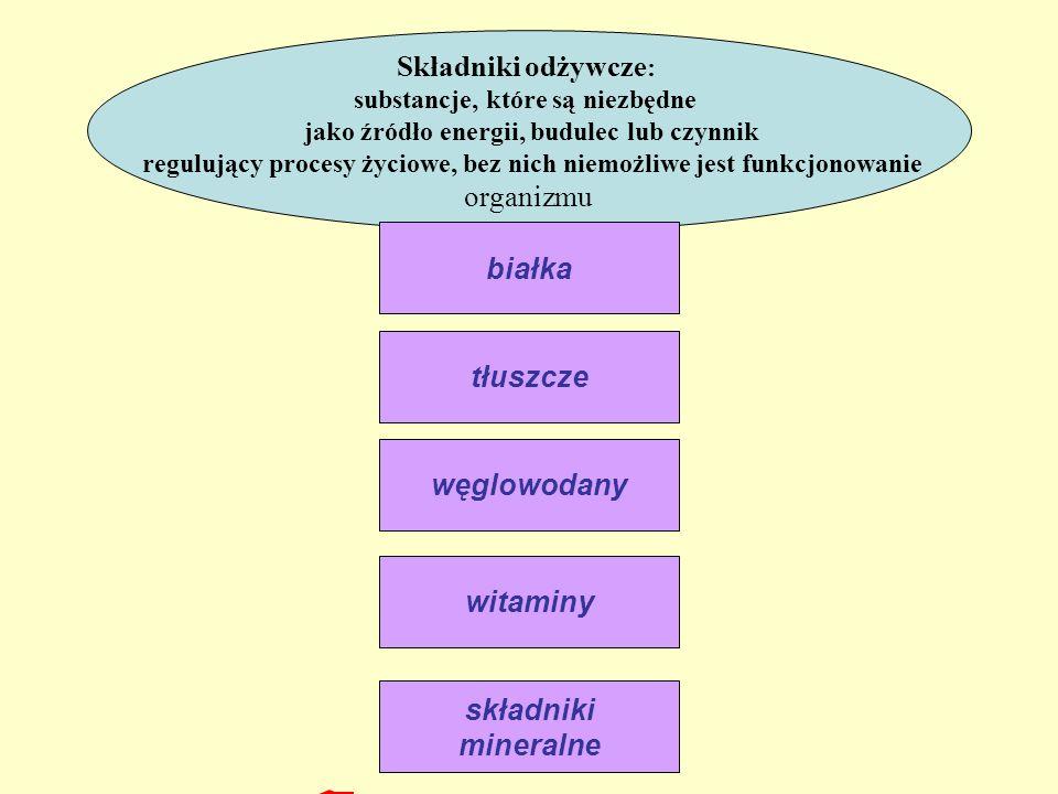 Składniki odżywcze : substancje, które są niezbędne jako źródło energii, budulec lub czynnik regulujący procesy życiowe, bez nich niemożliwe jest funk