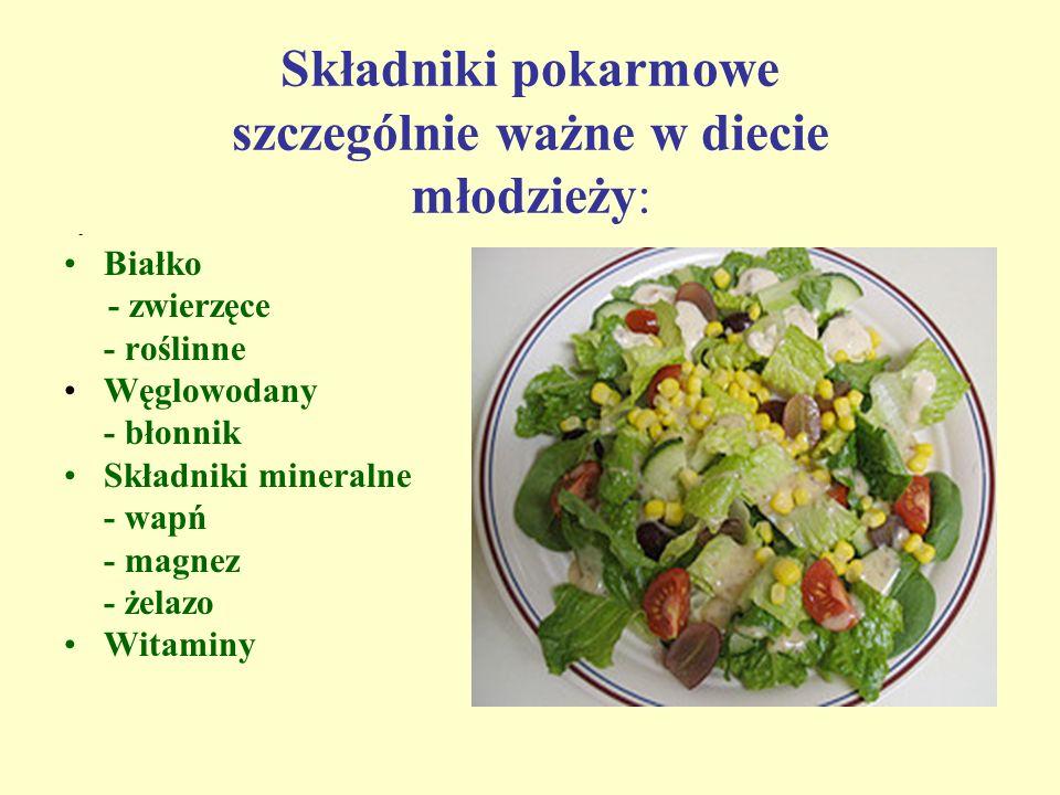 Składniki pokarmowe szczególnie ważne w diecie młodzieży: - Białko - zwierzęce - roślinne Węglowodany - błonnik Składniki mineralne - wapń - magnez -