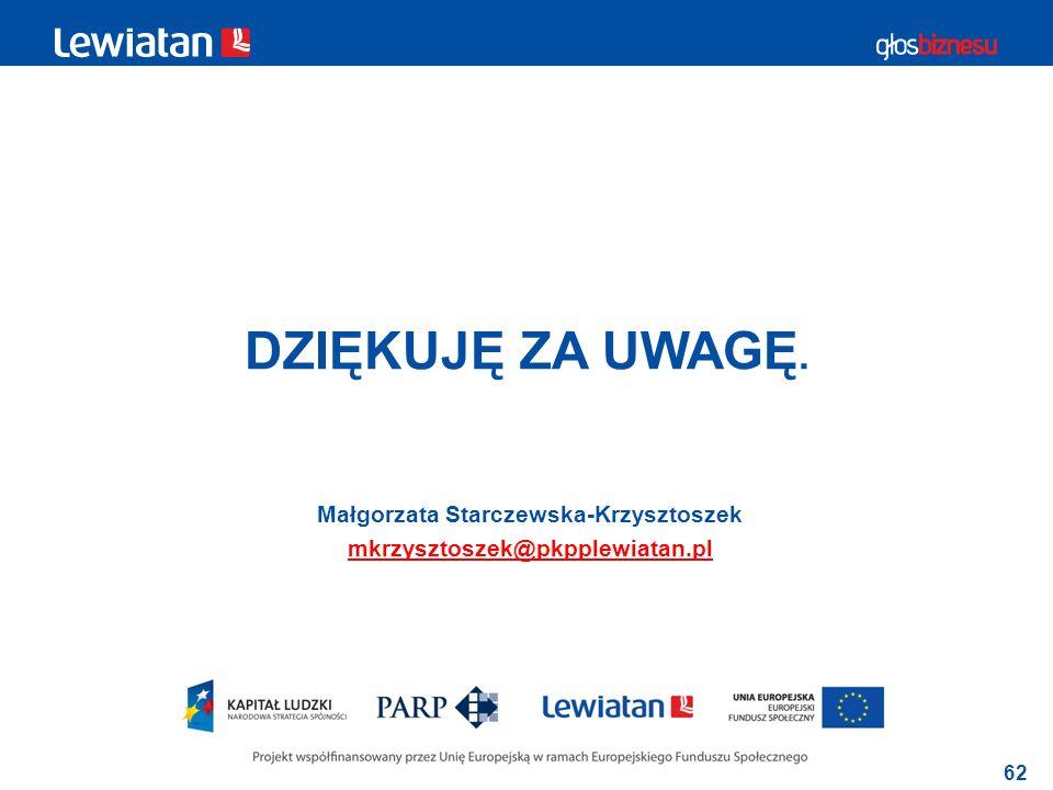 62 DZIĘKUJĘ ZA UWAGĘ. Małgorzata Starczewska-Krzysztoszek mkrzysztoszek@pkpplewiatan.pl