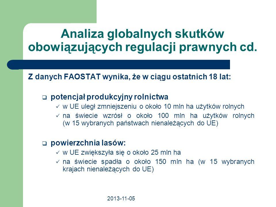 2013-11-05 Analiza globalnych skutków obowiązujących regulacji prawnych cd. Z danych FAOSTAT wynika, że w ciągu ostatnich 18 lat: potencjał produkcyjn