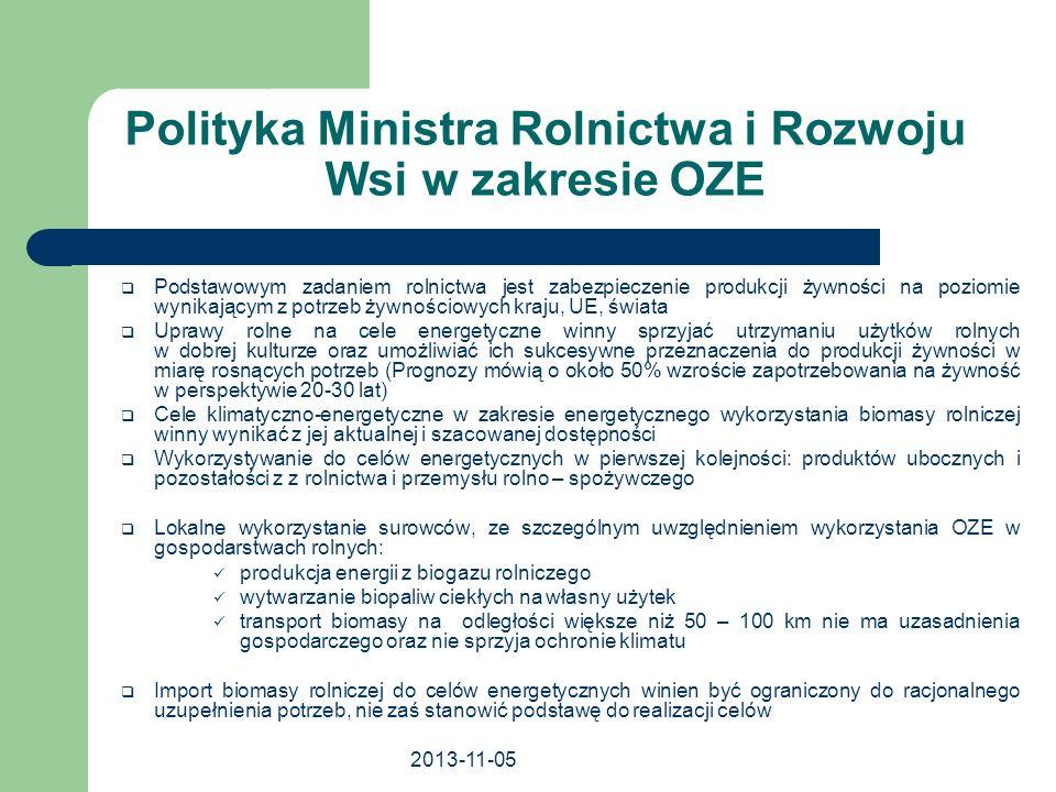 2013-11-05 Polityka Ministra Rolnictwa i Rozwoju Wsi w zakresie OZE Podstawowym zadaniem rolnictwa jest zabezpieczenie produkcji żywności na poziomie