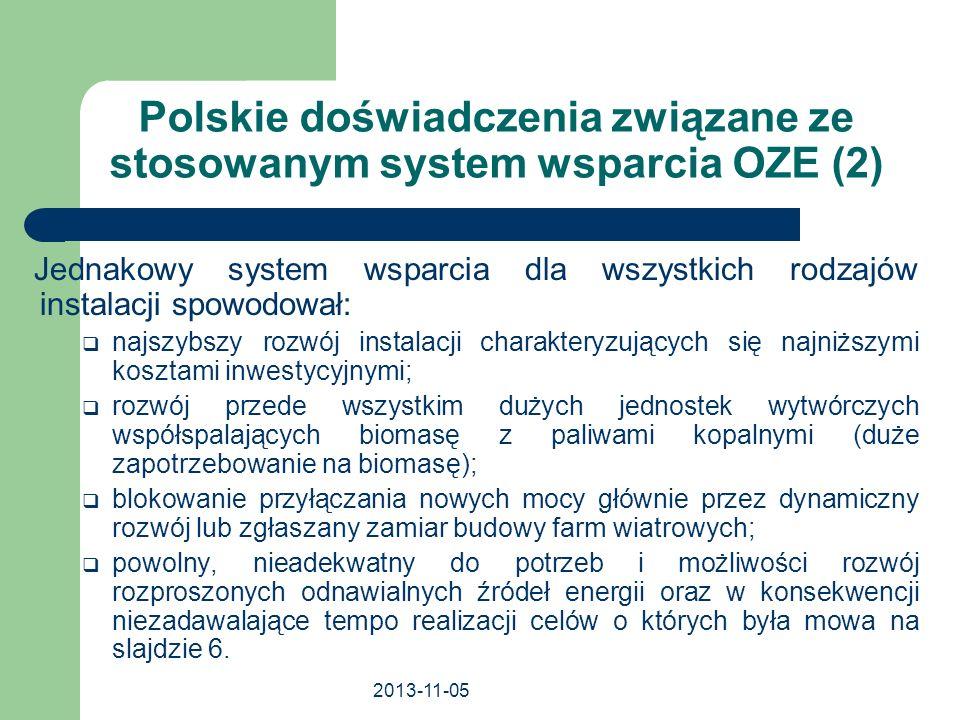 2013-11-05 Polskie doświadczenia związane ze stosowanym system wsparcia OZE (2) Jednakowy system wsparcia dla wszystkich rodzajów instalacji spowodowa