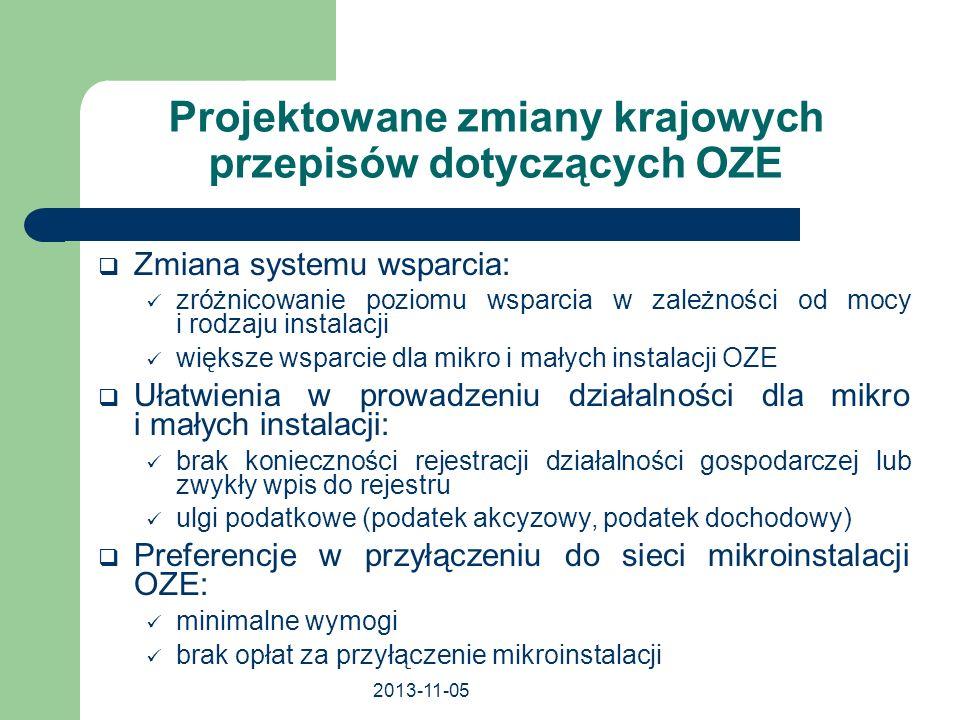 2013-11-05 Projektowane zmiany krajowych przepisów dotyczących OZE Zmiana systemu wsparcia: zróżnicowanie poziomu wsparcia w zależności od mocy i rodz