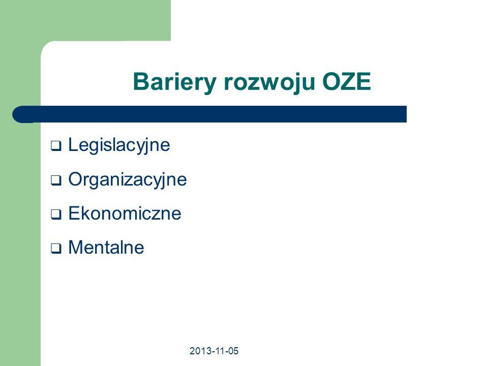 2013-11-05 Bariery rozwoju OZE Legislacyjne Organizacyjne Ekonomiczne Mentalne