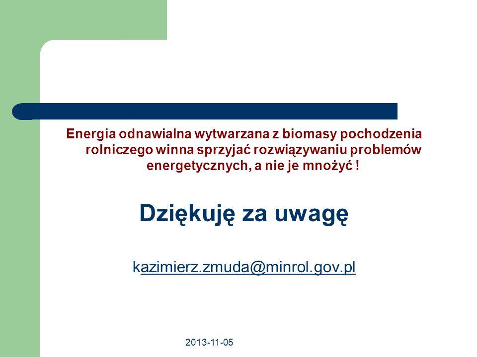 2013-11-05 Energia odnawialna wytwarzana z biomasy pochodzenia rolniczego winna sprzyjać rozwiązywaniu problemów energetycznych, a nie je mnożyć ! Dzi
