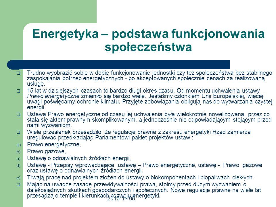 2013-11-05 Obowiązujące w Polsce regulacje prawne w zakresie OZE Ustawa – Prawo energetyczne Obowiązek minimalnego udziału energii ze źródeł odnawialnych w końcowym zużyciu energii brutto Wsparcie wytwarzania energii w OZE – świadectwa pochodzenia lub opłata zastępcza Obowiązek minimalnego udziału biomasy rolniczej lub odpadów i pozostałości z produkcji rolniczej Ustawa o biokomponentach i biopaliwach ciekłych