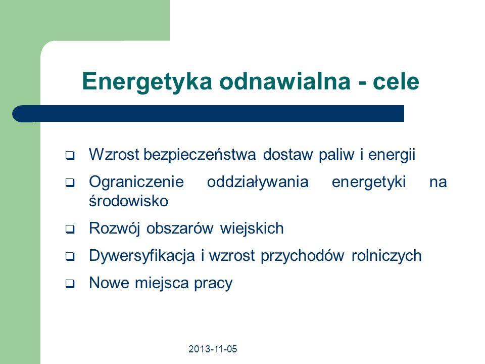 2013-11-05 Energetyka odnawialna - cele Wzrost bezpieczeństwa dostaw paliw i energii Ograniczenie oddziaływania energetyki na środowisko Rozwój obszar