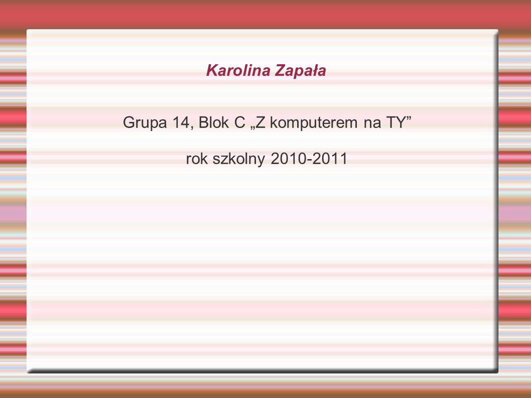 Karolina Zapała Grupa 14, Blok C Z komputerem na TY rok szkolny 2010-2011