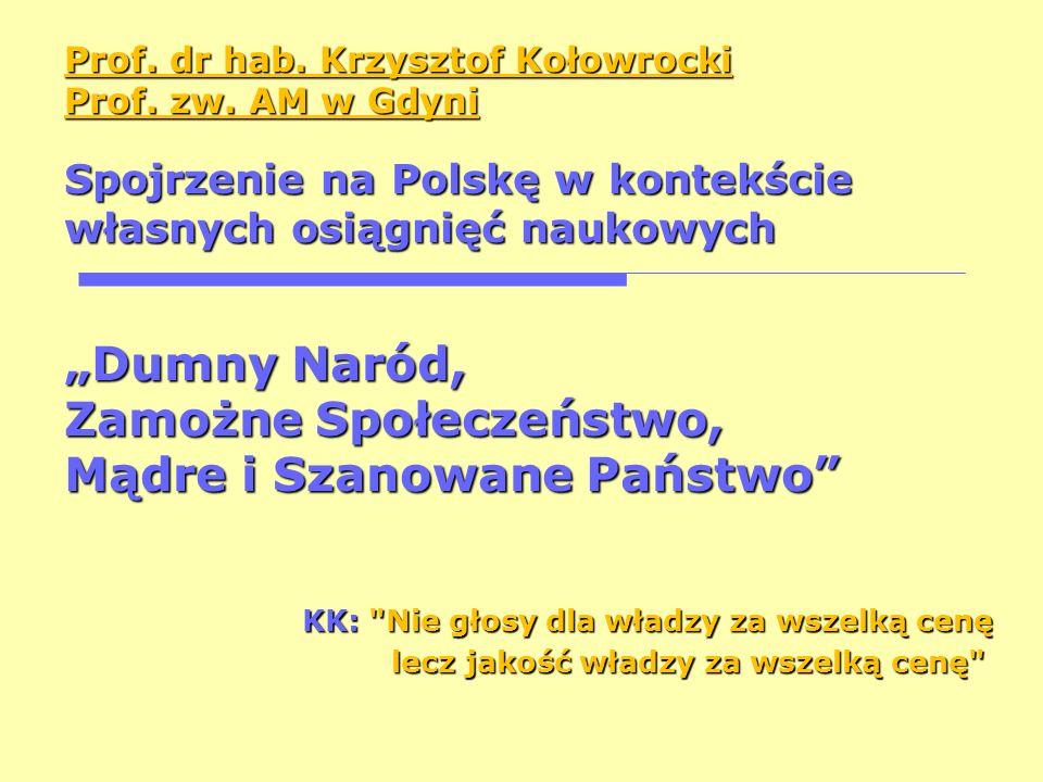Prof. dr hab. Krzysztof Kołowrocki Prof. zw. AM w Gdyni Spojrzenie na Polskę w kontekście własnych osiągnięć naukowych Dumny Naród, Zamożne Społeczeńs