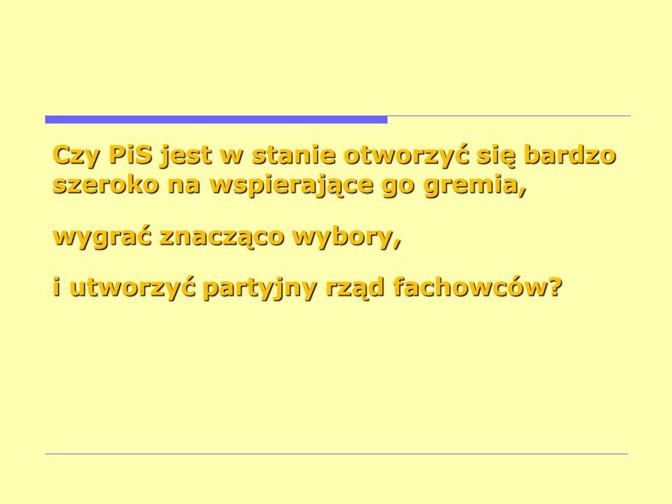 Czy PiS jest w stanie otworzyć się bardzo szeroko na wspierające go gremia, wygrać znacząco wybory, i utworzyć partyjny rząd fachowców?
