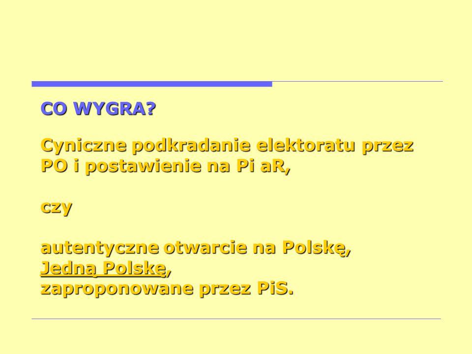 CO WYGRA? Cyniczne podkradanie elektoratu przez PO i postawienie na Pi aR, czy autentyczne otwarcie na Polskę, Jedną Polskę, zaproponowane przez PiS.