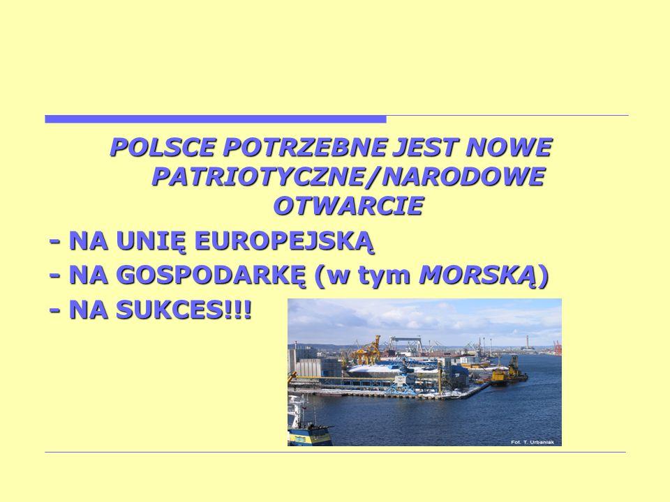 POLSCE POTRZEBNE JEST NOWE PATRIOTYCZNE/NARODOWE OTWARCIE - NA UNIĘ EUROPEJSKĄ - NA GOSPODARKĘ (w tym MORSKĄ) - NA SUKCES!!!