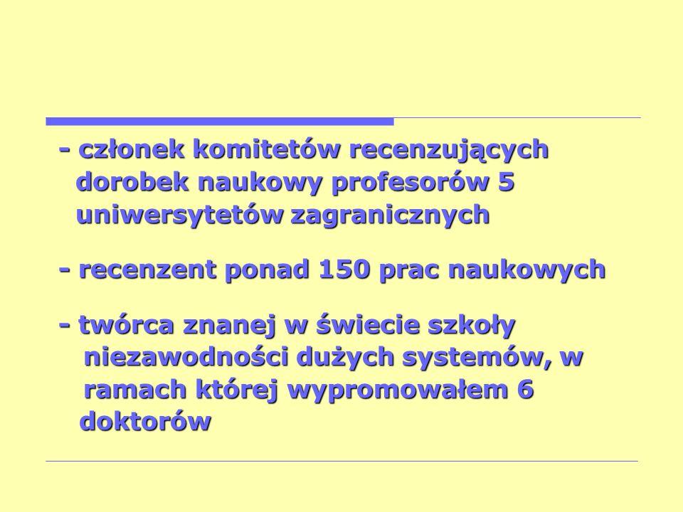 - członek komitetów recenzujących dorobek naukowy profesorów 5 dorobek naukowy profesorów 5 uniwersytetów zagranicznych uniwersytetów zagranicznych -
