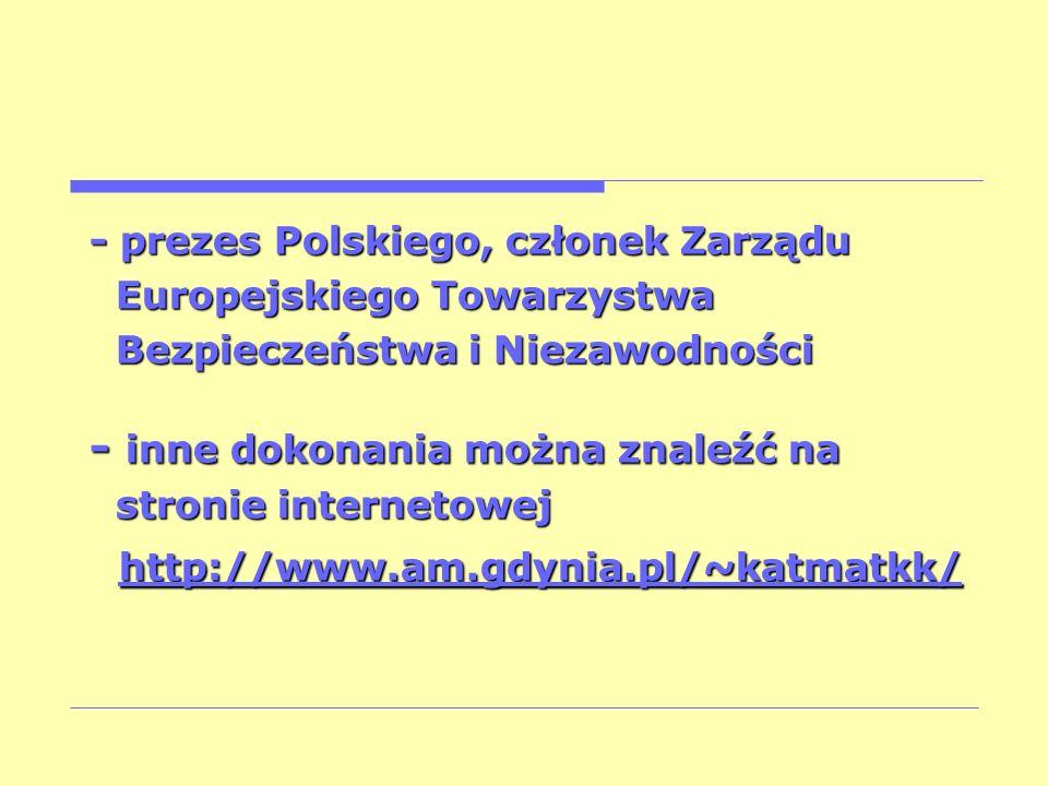 - prezes Polskiego, członek Zarządu Europejskiego Towarzystwa Europejskiego Towarzystwa Bezpieczeństwa i Niezawodności Bezpieczeństwa i Niezawodności