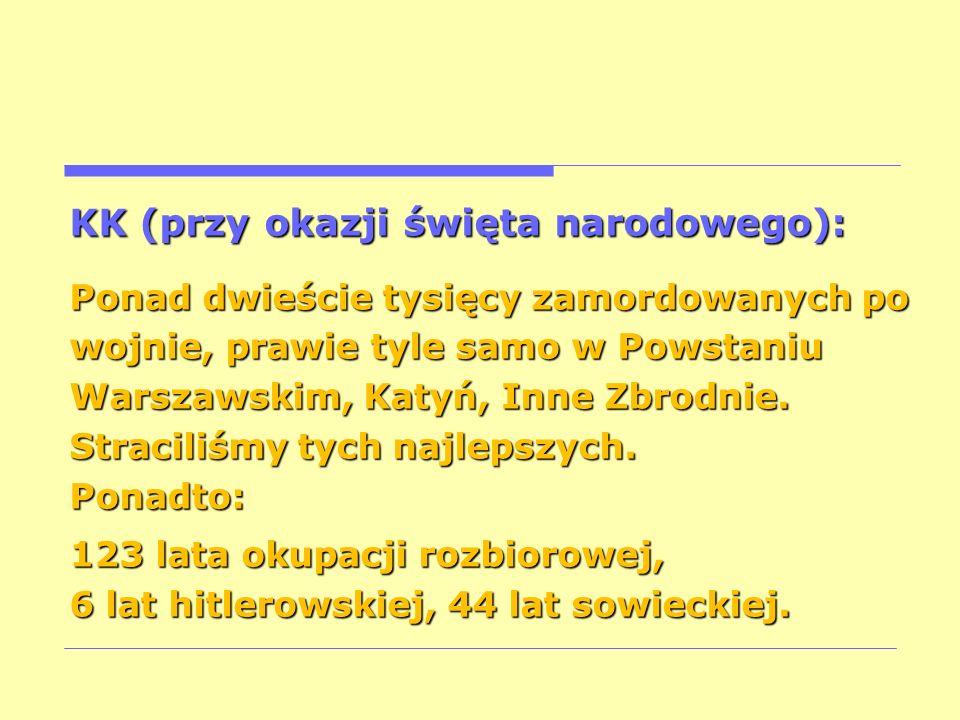 KK (przy okazji święta narodowego): Ponad dwieście tysięcy zamordowanych po wojnie, prawie tyle samo w Powstaniu Warszawskim, Katyń, Inne Zbrodnie. St