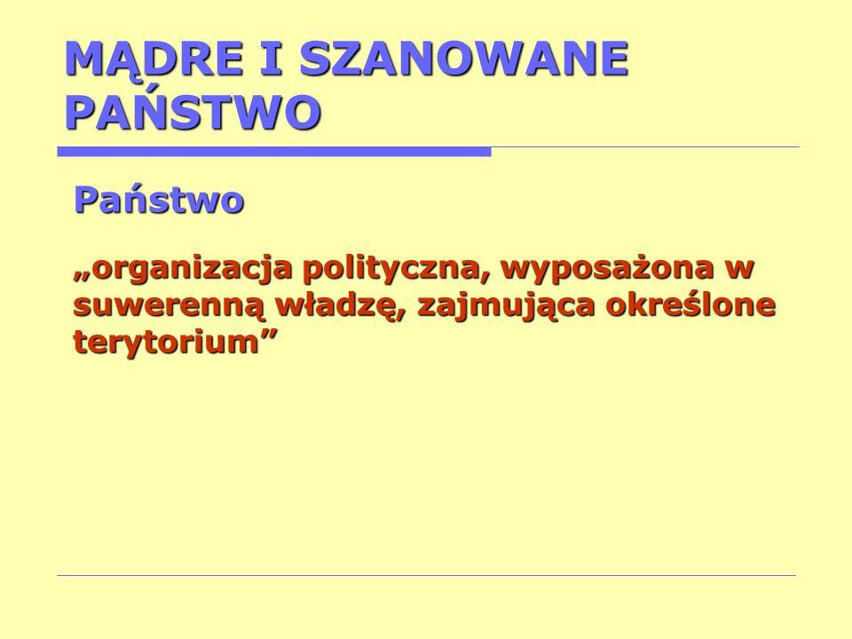 MĄDRE I SZANOWANE PAŃSTWO Państwo organizacja polityczna, wyposażona w suwerenną władzę, zajmująca określone terytorium